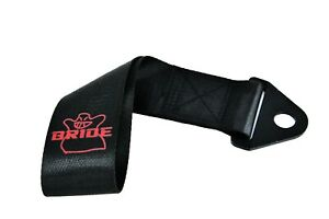 JDM High Strength BRIDE Tow Strap for Front Rear Bumper Towing Hook-Black