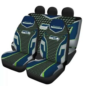 Seattle Seahawks Universal Car Seat Cover 5 Seater Front Rear Cushion Protector