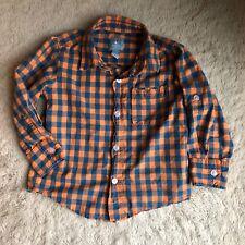 Baby Gap 2T Checkered Plaid Orange Blue Button Down Shirt Cuff Sleeves