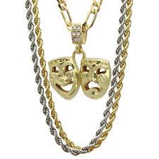 14k Gold Small Tragedy & Comedy Mask Pendant Happy Sad Hip Hop 18