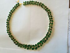Suzanne Somers FINE Gold On Sterling Vermeil Necklace 136 Emerald CZ + Earrings