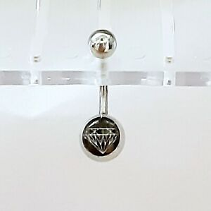 Belly Ring Black Diamond Logo Non Dangle Naval Steel Body Jewelry