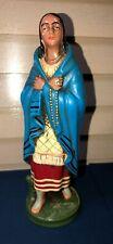 "Kateri Native American Indian Catholic Saint Chalkware Figurine Statuette 8"""