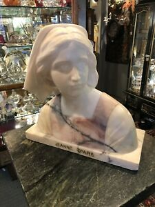 Antique Italian Pink and White Marble Bust of Joan of Arc Joan D'Arc Grand Tour