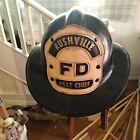 Vtg rushville asst chief 1940 Firefighter MSA Helmet leather NE IN MO IL NY city