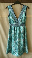 H&M gorgeous turquoise V-neck A-line summer dress with a belt size UK 6