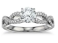 1.75 Ct Solitaire Twirl Diamond Engagement Ring Solid 14k White Gold
