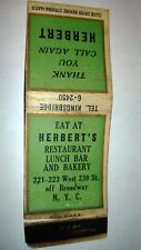 "RARE OLD Vintage  EAT AT ""HERBERT'S"" matchbook. MADE in USA"