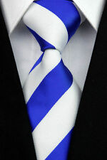 GIFTS FOR MEN Classic Mens College Stripe Silk Necktie Work Tie Royal Blue White