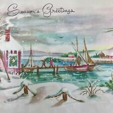 Vintage Mid Century Christmas Greeting Card Winter Seaside Sailboats Snowy Dock