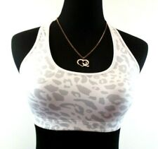 "*Victoria's Secret PINK Yoga* Jrs ""S"" Wht/Gray Cheetah Unlined Racer Sports Bra"
