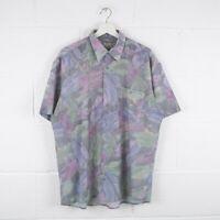 Vintage Crazy Print Patterned Short Sleeved Shirt Size Mens Large