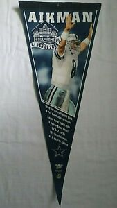 RARE! Dallas Cowboys Troy Aikman 12 x 30 Pennant Flag 2006 Hall of Fame Wincraft
