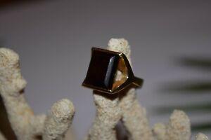 9ct Yellow Gold Large Square Smokey Quartz Ring