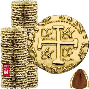 Pirate Coins -100 Metal Gold Coins, Fake Fantasy Coins, Treasure Hunt Doubloons