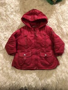 Baby Girls - Winter Coat Age 9-12 Months -  Red - Hooded - Fabulous ❤️