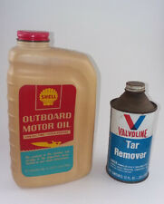 Plastic Shell outboard oil and a Valvoline Tar Remover can