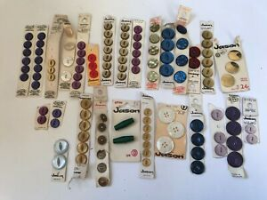 Vintage Jason Buttons On Cards 1960's 70's Plastic Sewing Crafts Round