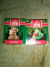 Lot Of 2 1990 Hallmark Keepsake Ornaments Poolside Walrus And Beary Good Deal