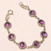 """925 Solid Sterling Silver Charming Best Quality Amethyst  Bracelet """"7.00"""" inches"""