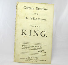 MATTHEW PRIOR Carmen Secu'lare for the Year 1700 to the King POEM William III