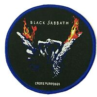 Black Sabbath - Cross Purposes - Rotondo Tessuta Toppa Cucitura su Blu Cucitura