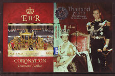 AUSTRALIA 2013 THAILAND OVPT. ON DIAMOND JUBILEE MS. UM, MNH