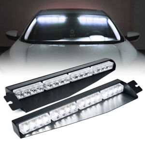 Xprite Dual White LED Sun Visor Strobe Light Bar Emergency Hazard Warning Lamp