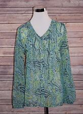 Womens Kim Rogers Sheer Green Paisley Blouse Size Petite Small Top