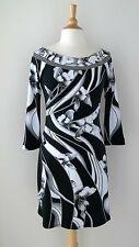 WHITE HOUSE BLACK MARKET [ M ] Monochrome Floral Print 3/4 Sleeve Tunic Dress