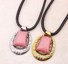 Women's Exaggerate Large Pink Resin Pendant Chunky Choker Statement Bib Necklace