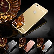 COVER per Huawei P10 Lite CUSTODIA Bumper Alluminio Specchio VETRO TEMPERATO 9H