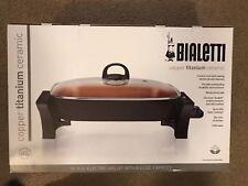"Bialetti Copper Titanium Ceramic Nonstick Chefs Electric Skillet 12""x15"" 5.5 qt."