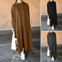 Womens Hoodies Casual Loose Solid Split Hem Sweatshirt Long Maxi Dress Plus Size