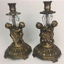 Vintage Antique Cherub Brass Candlestick Taper Candle Holders Crystal Prisms