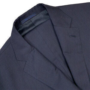 Hand Made 42 R ISAIA Navy Blue Mini Stripe Super 110's Wool Suit Made Italy
