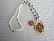 Handcrafted Necklace MOP Beads Amethyst Russian Hanpainted Pendant on Shell New