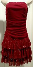 Byerwear Too! Red strapless ruched layered silver dots prom party dress Sz M