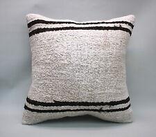 """White Hemp Square Pillow, 20""""x20"""", Decorative Throw Cushion,  Vintage Pillow"""