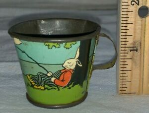 ANTIQUE OHIO ART PETER RABBIT TIN LITHO TEA SET CUP TOY MUG BRYAN OHIO EARLY OLD
