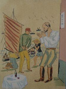 FOUJITA :  Le trafiquant - LITHOGRAPHIE originale en couleur signée #1928