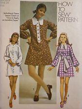 S-8920 Vintage 1970s Mini-Dress Sash Sewing Pattern Simplicity Size 10