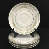 Set of 4 VTG Saucer Plates Roseville Japan Translucent Fine China 4135 Floral