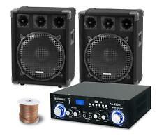 PA Anlage DJ Party Sound Lautsprecher Boxen Bluetooth Verstärker Kabel Set 1200W