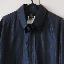 "Versace Jeans Couture Italian Black Shiny Pinstripe Dress Shirt L pit-pit 22"""