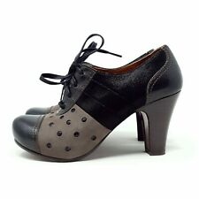 Chie Mihara Black Leather Heels Shoes Polka Dot Spotty Lace Up UK 5 EU 38