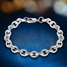 925 Silver Plated Round Ring Charm Chain Bracelet Bangle Women Fashion Jewelry