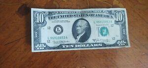 Vintage 1969 Series B San Francisco CA Federal Reserve $10 Bill!! VG Estate Cond