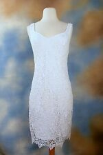 NEW GUESS JEANS white lace overlay sheath shift party occasion dress SZ: 10