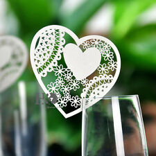 12pcs Love Heart Name Place cards for Wine Glass Card wedding bomboniere Favors